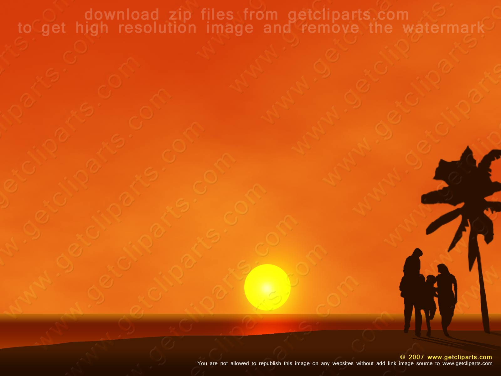 Photoshop / PSD files image Clip Art Download – Family at Sunset ...