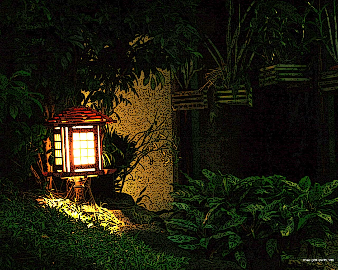 Garden theme background for powerpoints. This night lamp image designed at