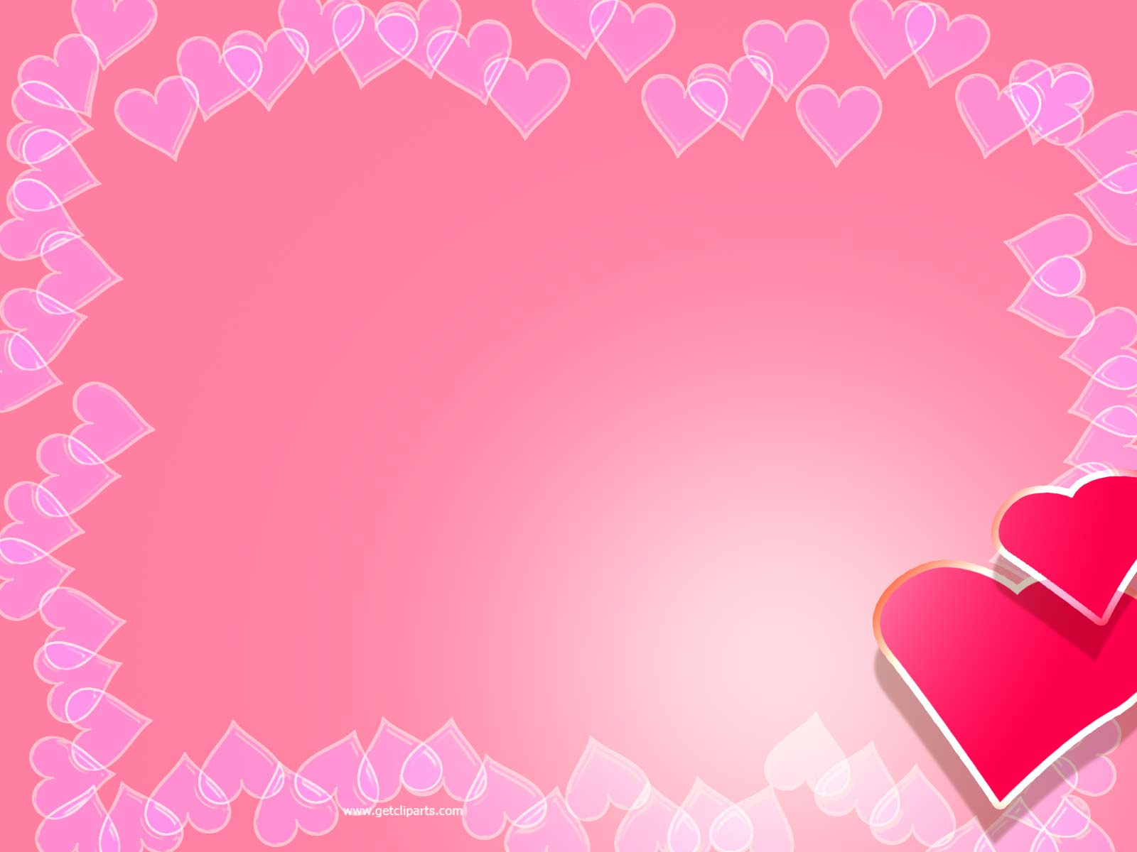 PPT template for Valentine theme. Hearts in gradient pink background ...